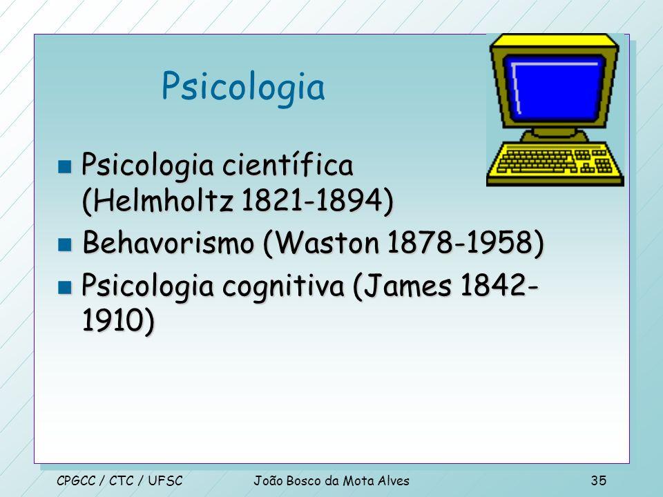 CPGCC / CTC / UFSCJoão Bosco da Mota Alves34 Matemática n Algoritmos (al-Khowarazmi) n Teoria de incompletude (Gödel) n Intratabilidade n Redução(Dant