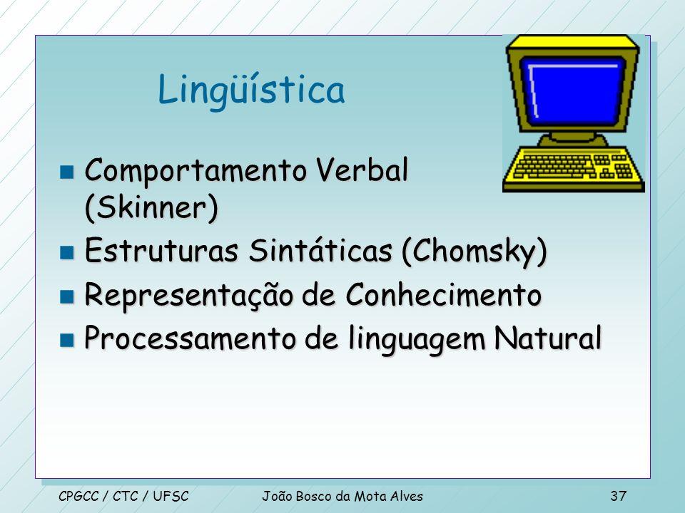 CPGCC / CTC / UFSCJoão Bosco da Mota Alves36 Computação n Alan Turing (1940) n Z-3 / 1 o computador Programável ( Konrad Zuse 1941) n ABC - IOWA St. U
