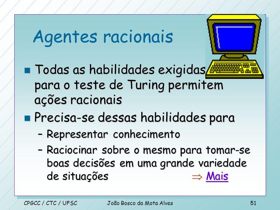 CPGCC / CTC / UFSCJoão Bosco da Mota Alves50 Agentes racionais n MS Encarta 2000 n Ação involuntária –Reflexos ativam músculos em situações onde o cér