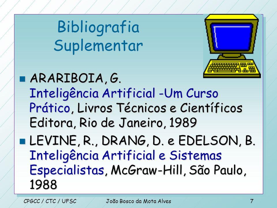 CPGCC / CTC / UFSCJoão Bosco da Mota Alves6 Bibliografia Suplementar n RICH, E e KNIGHT, K. Inteligência Artificial, 2.ed, Makron Books do Brasil, São