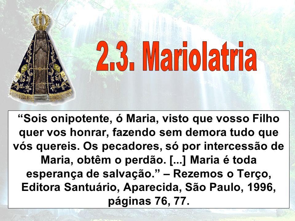 Sois onipotente, ó Maria, visto que vosso Filho quer vos honrar, fazendo sem demora tudo que vós quereis. Os pecadores, só por intercessão de Maria, o