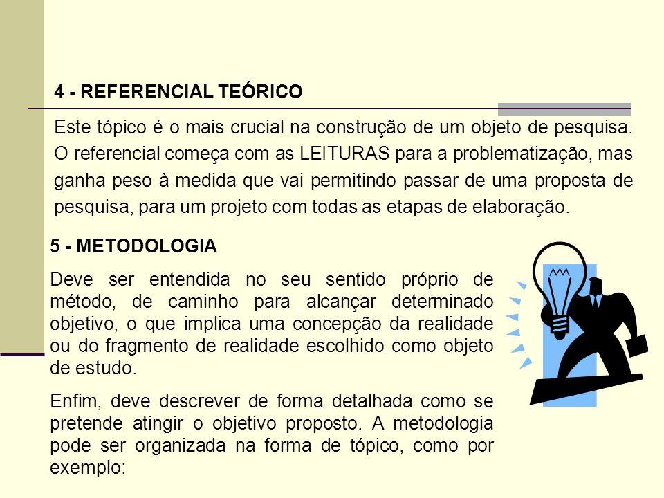 4 - REFERENCIAL TEÓRICO Este tópico é o mais crucial na construção de um objeto de pesquisa. O referencial começa com as LEITURAS para a problematizaç