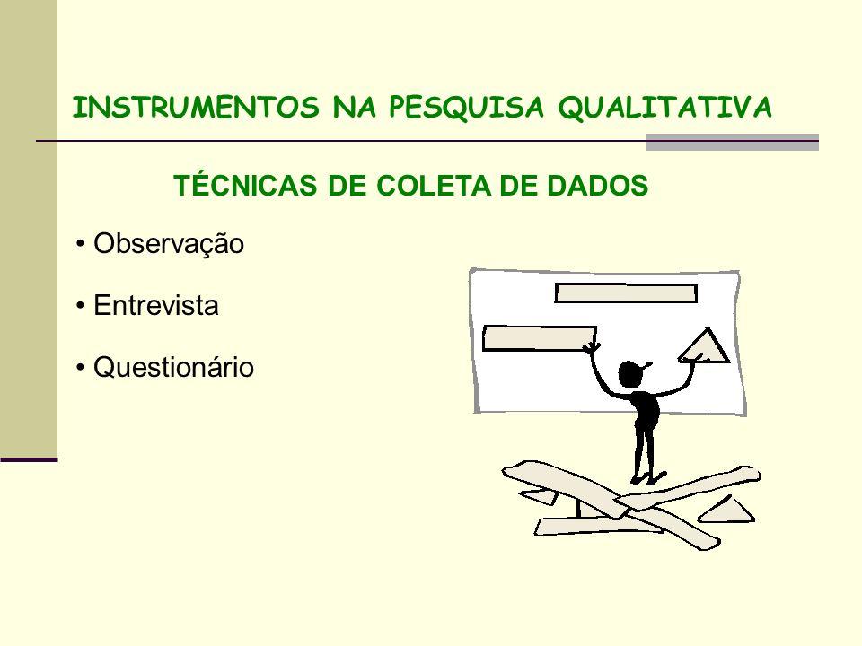 TÉCNICAS DE COLETA DE DADOS Observação Entrevista Questionário INSTRUMENTOS NA PESQUISA QUALITATIVA