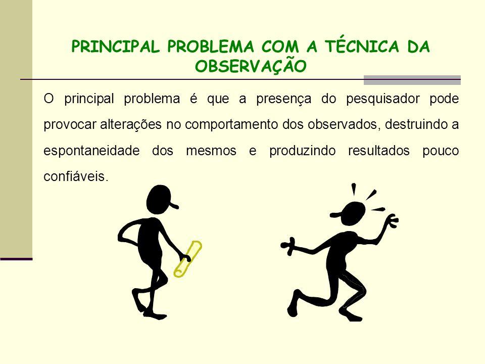 PRINCIPAL PROBLEMA COM A TÉCNICA DA OBSERVAÇÃO O principal problema é que a presença do pesquisador pode provocar alterações no comportamento dos obse