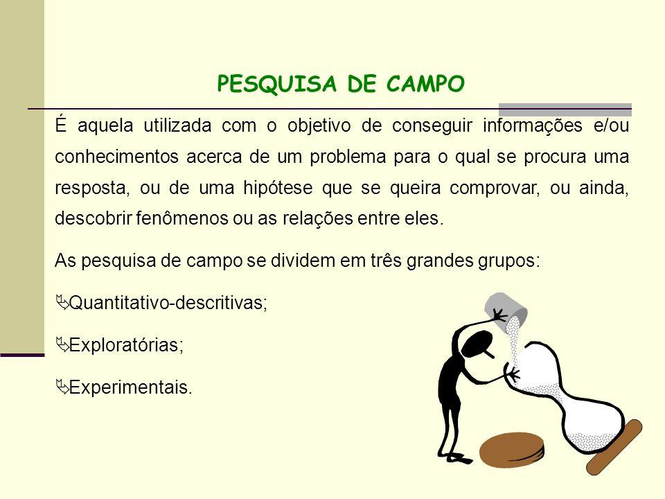 PESQUISA DE CAMPO É aquela utilizada com o objetivo de conseguir informações e/ou conhecimentos acerca de um problema para o qual se procura uma respo