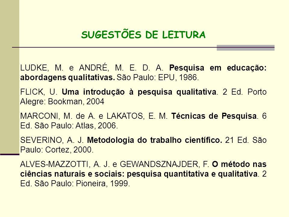 SUGESTÕES DE LEITURA LUDKE, M. e ANDRÉ, M. E. D. A. Pesquisa em educação: abordagens qualitativas. São Paulo: EPU, 1986. FLICK, U. Uma introdução à pe