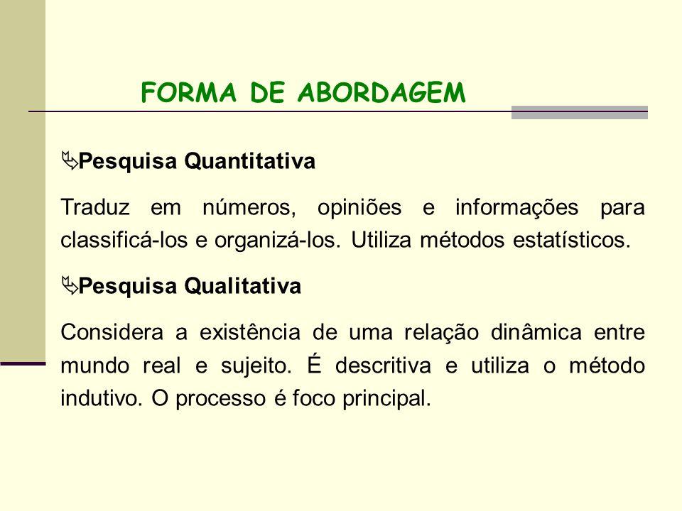 FORMA DE ABORDAGEM Pesquisa Quantitativa Traduz em números, opiniões e informações para classificá-los e organizá-los. Utiliza métodos estatísticos. P