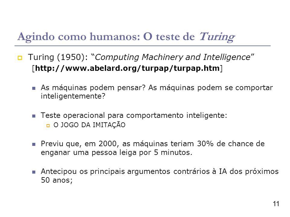 11 Agindo como humanos: O teste de Turing Turing (1950): Computing Machinery and Intelligence [http://www.abelard.org/turpap/turpap.htm] As máquinas podem pensar.