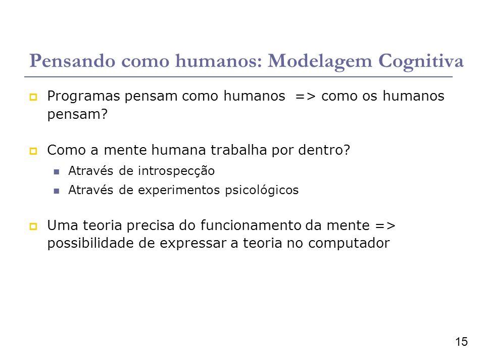 15 Pensando como humanos: Modelagem Cognitiva Programas pensam como humanos => como os humanos pensam? Como a mente humana trabalha por dentro? Atravé