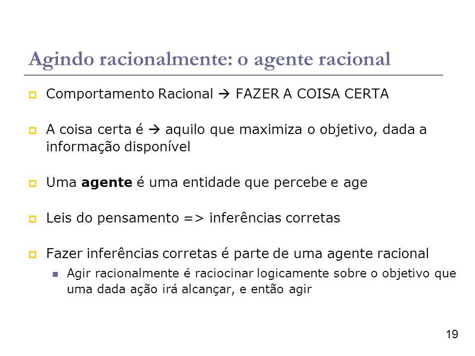 19 Agindo racionalmente: o agente racional Comportamento Racional FAZER A COISA CERTA A coisa certa é aquilo que maximiza o objetivo, dada a informaçã