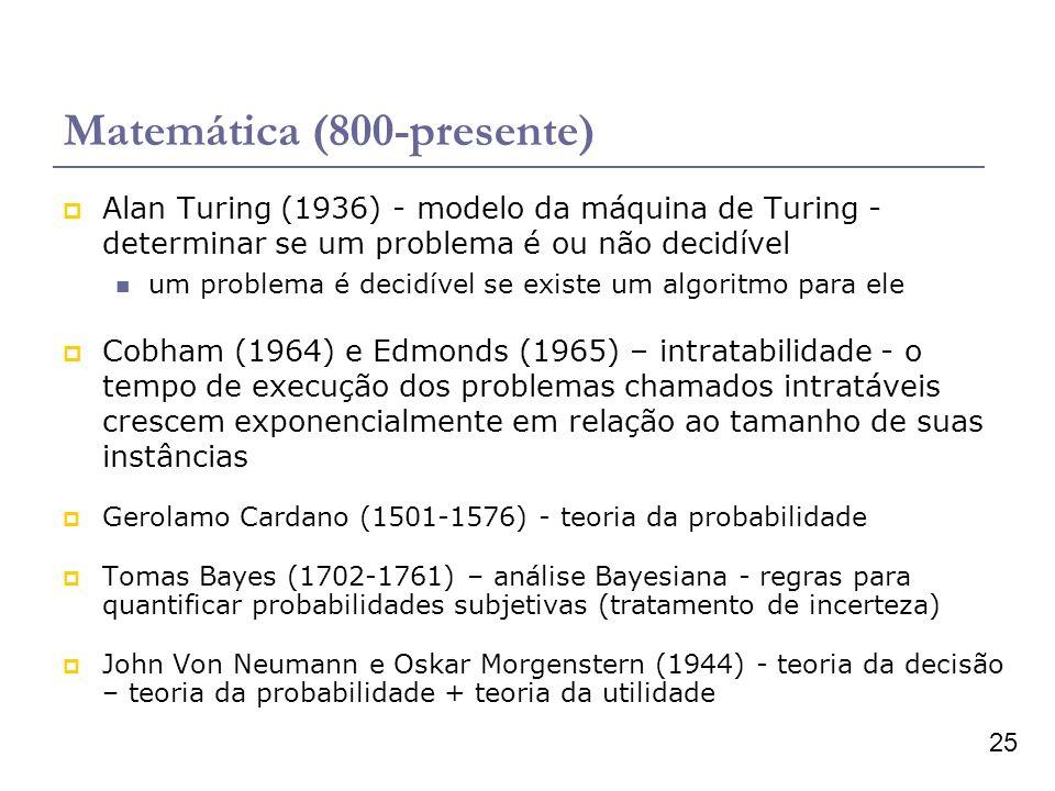 25 Matemática (800-presente) Alan Turing (1936) - modelo da máquina de Turing - determinar se um problema é ou não decidível um problema é decidível s