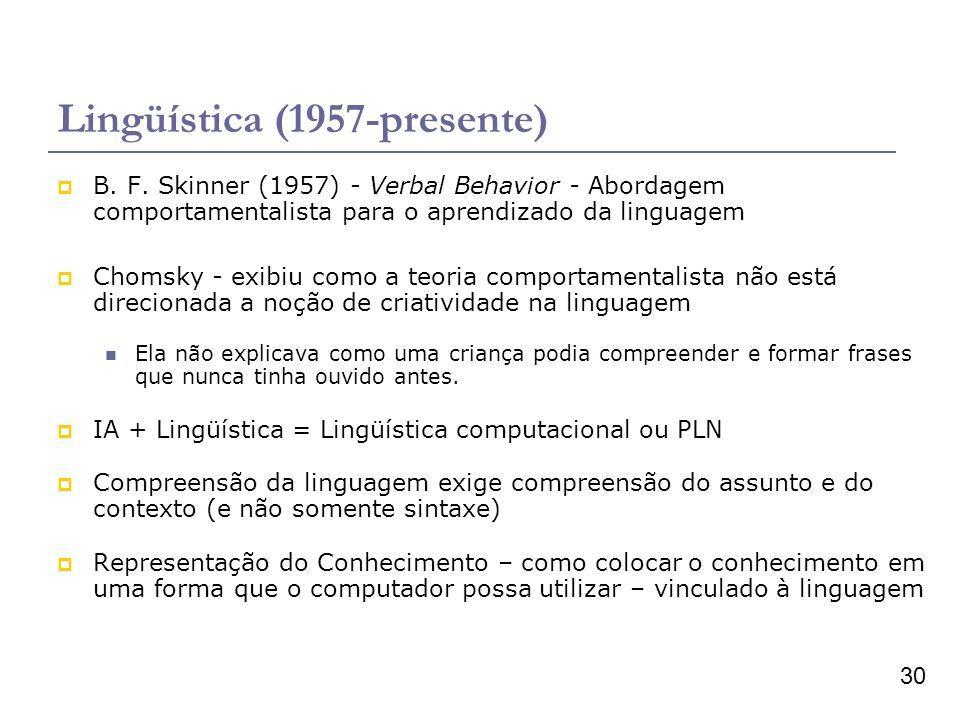 30 Lingüística (1957-presente) B. F. Skinner (1957) - Verbal Behavior - Abordagem comportamentalista para o aprendizado da linguagem Chomsky - exibiu