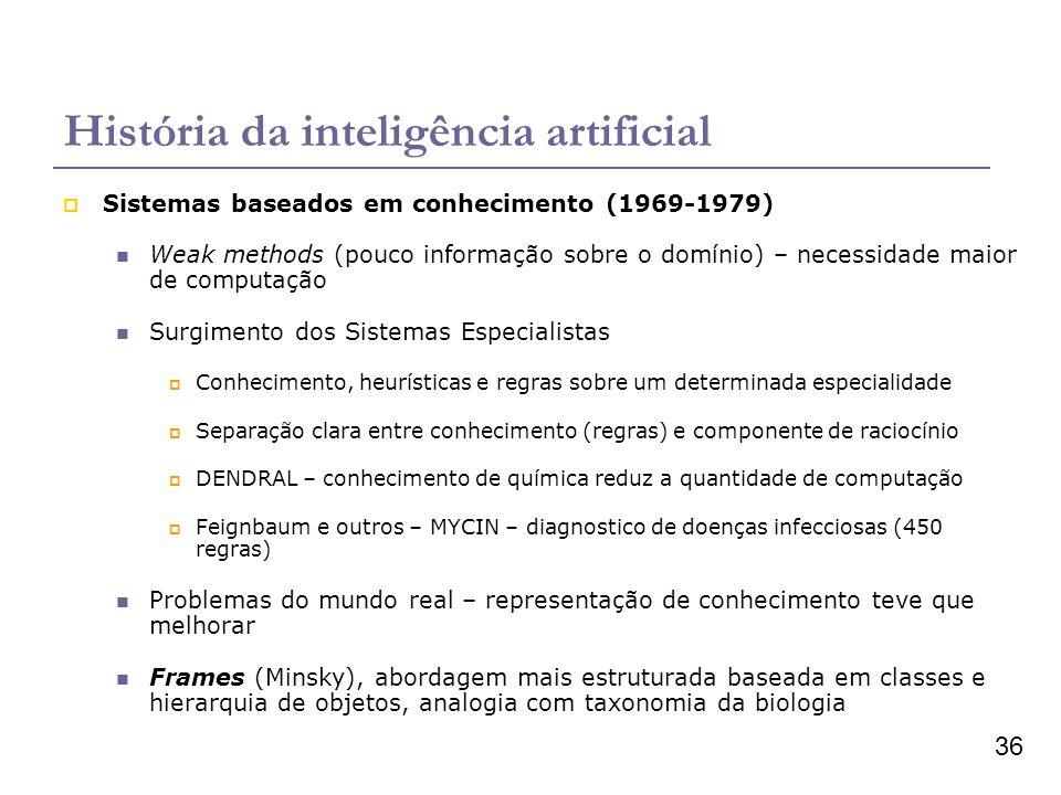 36 História da inteligência artificial Sistemas baseados em conhecimento (1969-1979) Weak methods (pouco informação sobre o domínio) – necessidade mai