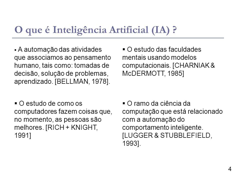 4 O que é Inteligência Artificial (IA) ? O estudo das faculdades mentais usando modelos computacionais. [CHARNIAK & McDERMOTT, 1985] A automação das a