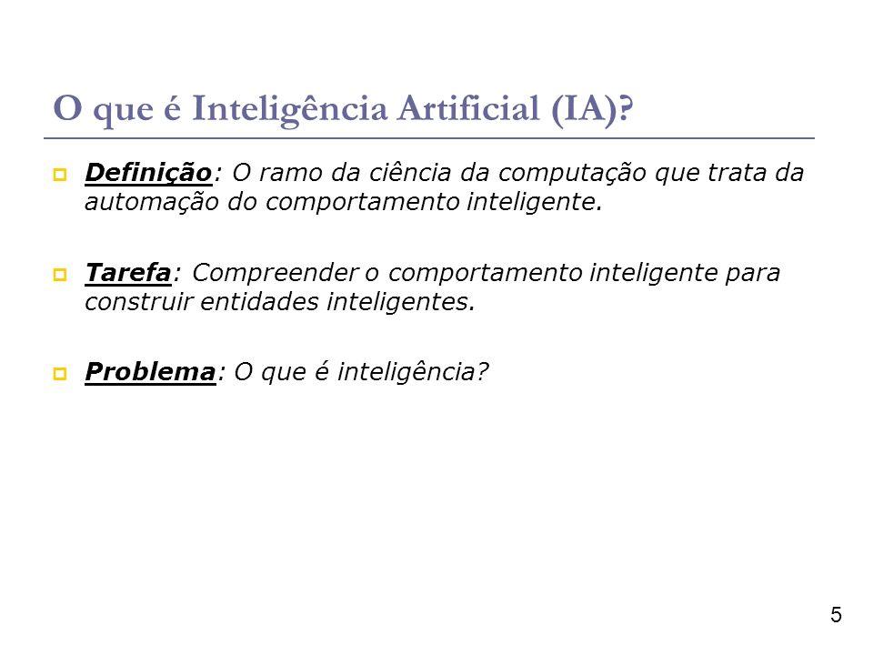 5 O que é Inteligência Artificial (IA)? Definição: O ramo da ciência da computação que trata da automação do comportamento inteligente. Tarefa: Compre