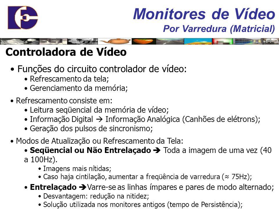 Memória de Vídeo: Responsável pelo armazenamento dos dados ref. a imagem a ser exibida; Refrescamento da tela (redesenhar a imagem); Necessidade de re
