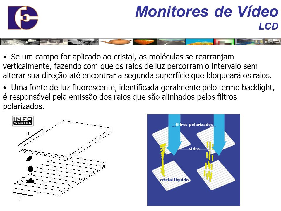 Monitores de Vídeo LCD Telas LCD se baseiam em uma tecnologia que produz imagens sobre uma superfície plana composta por cristal líquido e filtros col