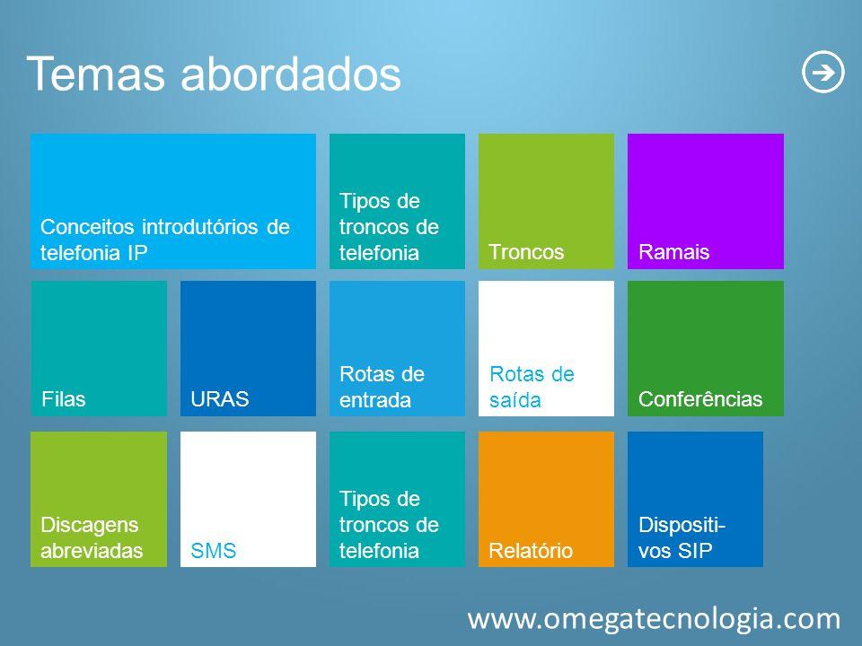 www.omegatecnologia.com Temas abordados Conceitos introdutórios de telefonia IP Tipos de troncos de telefonia FilasURAS Rotas de entrada TroncosRamais