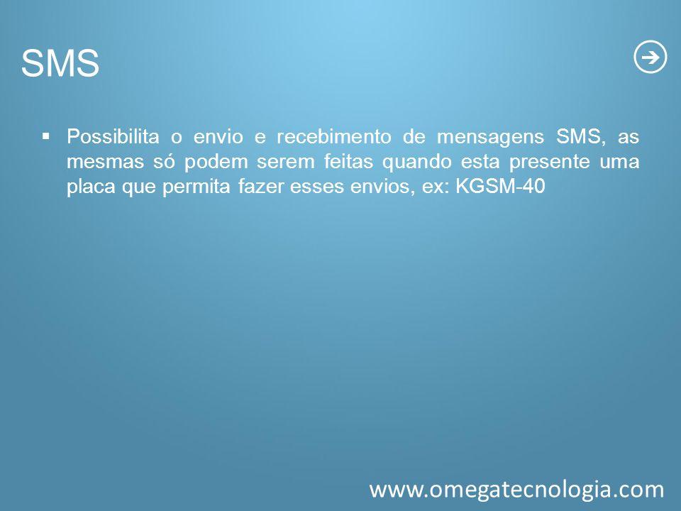 www.omegatecnologia.com SMS Possibilita o envio e recebimento de mensagens SMS, as mesmas só podem serem feitas quando esta presente uma placa que per