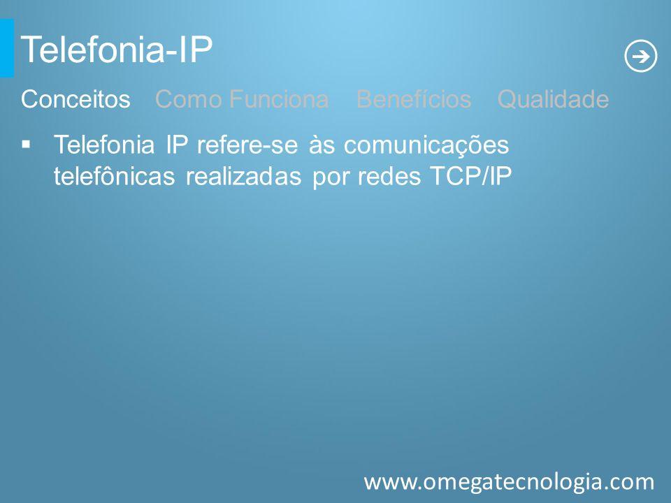 www.omegatecnologia.com Telefonia-IP ConceitosComo Funciona Benefícios Qualidade Telefonia IP refere-se às comunicações telefônicas realizadas por red