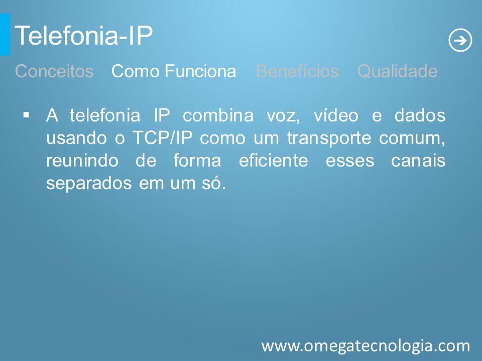 www.omegatecnologia.com Telefonia-IP A telefonia IP combina voz, vídeo e dados usando o TCP/IP como um transporte comum, reunindo de forma eficiente e
