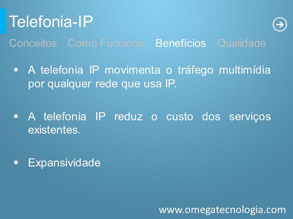 www.omegatecnologia.com Telefonia-IP A telefonia IP movimenta o tráfego multimídia por qualquer rede que usa IP. A telefonia IP reduz o custo dos serv
