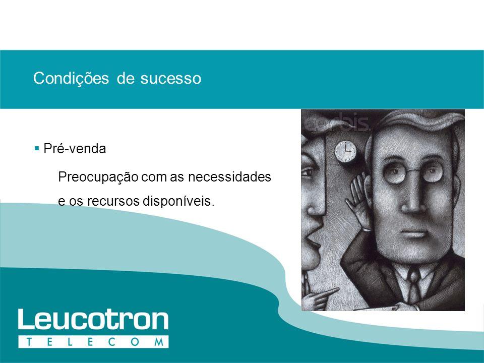 Condições de sucesso Pré-venda Preocupação com as necessidades e os recursos disponíveis.