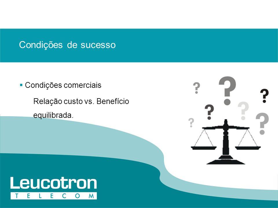 Condições de sucesso Condições comerciais Relação custo vs. Benefício equilibrada.