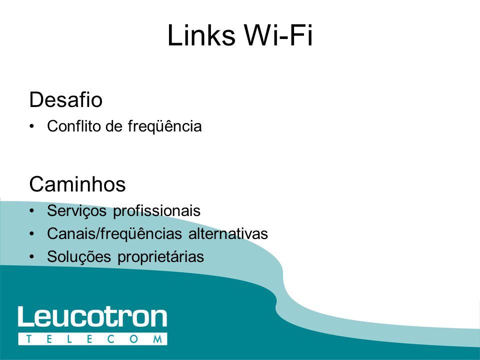 Links Wi-Fi Desafio Conflito de freqüência Caminhos Serviços profissionais Canais/freqüências alternativas Soluções proprietárias
