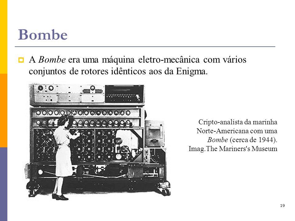 19 Bombe A Bombe era uma máquina eletro-mecânica com vários conjuntos de rotores idênticos aos da Enigma. Cripto-analista da marinha Norte-Americana c