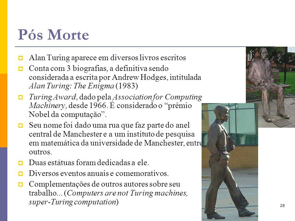 28 Pós Morte Alan Turing aparece em diversos livros escritos Conta com 3 biografias, a definitiva sendo considerada a escrita por Andrew Hodges, intit