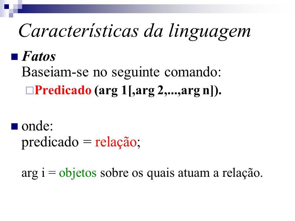Características da linguagem Fatos Baseiam-se no seguinte comando: Predicado (arg 1[,arg 2,...,arg n]). onde: predicado = relação; arg i = objetos sob