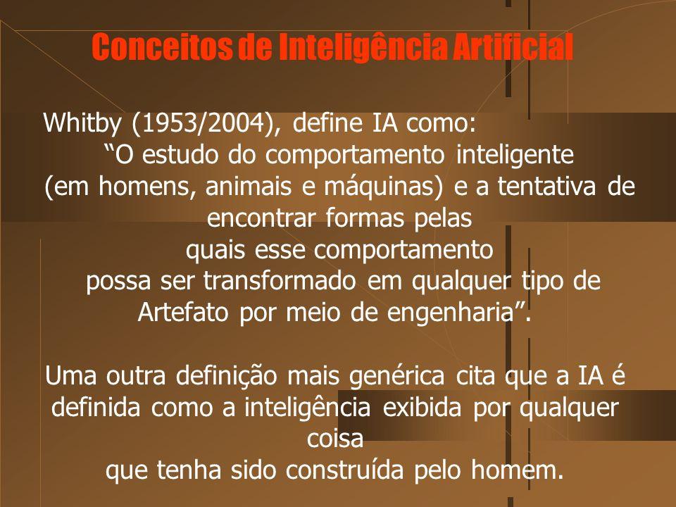 Whitby (1953/2004), define IA como: O estudo do comportamento inteligente (em homens, animais e máquinas) e a tentativa de encontrar formas pelas quai