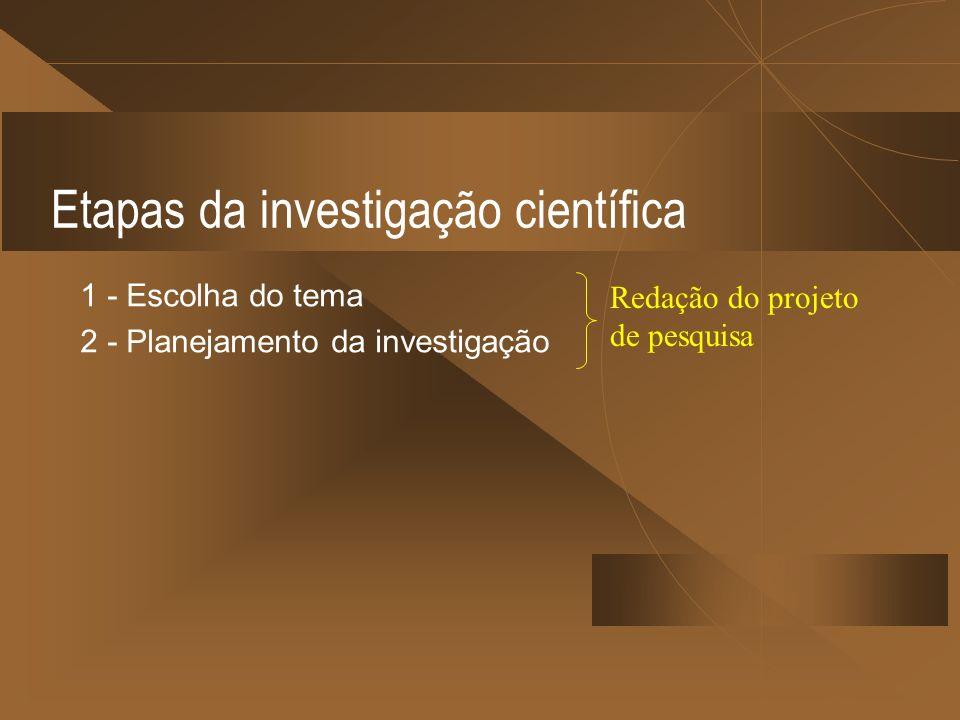 Etapas da investigação científica 1 - Escolha do tema 2 - Planejamento da investigação Redação do projeto de pesquisa
