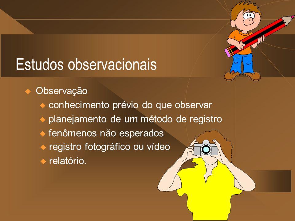 Estudos observacionais Observação u conhecimento prévio do que observar u planejamento de um método de registro u fenômenos não esperados u registro f