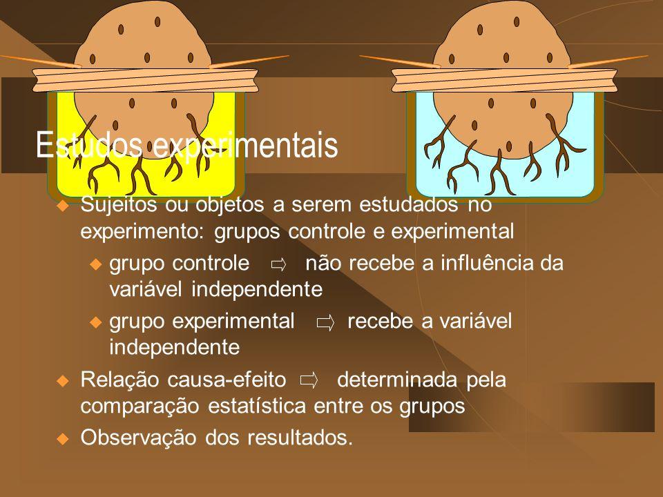 Estudos experimentais Sujeitos ou objetos a serem estudados no experimento: grupos controle e experimental u grupo controle não recebe a influência da