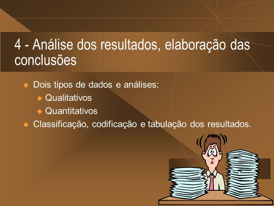 4 - Análise dos resultados, elaboração das conclusões Dois tipos de dados e análises: u Qualitativos u Quantitativos Classificação, codificação e tabu