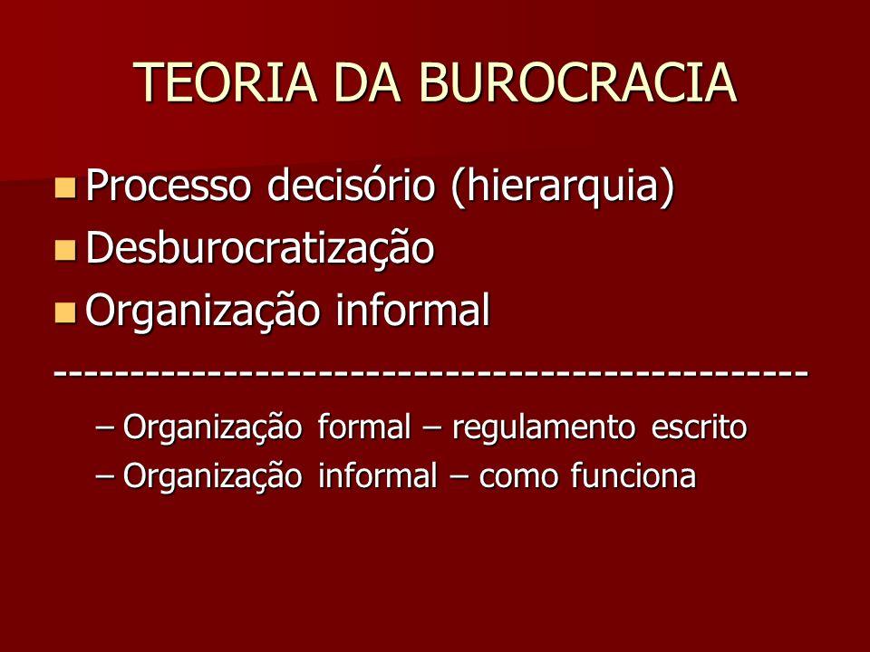 TEORIA DA BUROCRACIA Processo decisório (hierarquia) Processo decisório (hierarquia) Desburocratização Desburocratização Organização informal Organiza