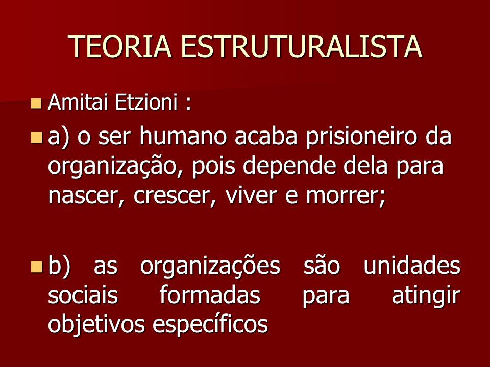 TEORIA ESTRUTURALISTA Amitai Etzioni : Amitai Etzioni : a) o ser humano acaba prisioneiro da organização, pois depende dela para nascer, crescer, vive