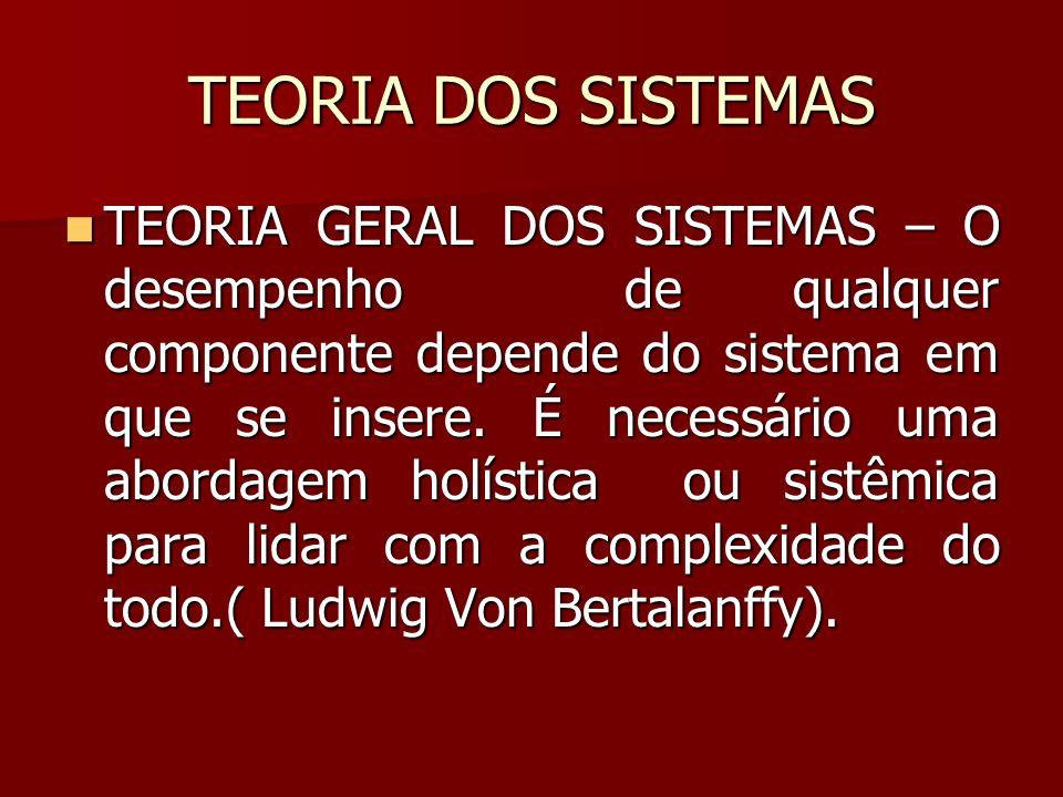 TEORIA DOS SISTEMAS TEORIA GERAL DOS SISTEMAS – O desempenho de qualquer componente depende do sistema em que se insere. É necessário uma abordagem ho