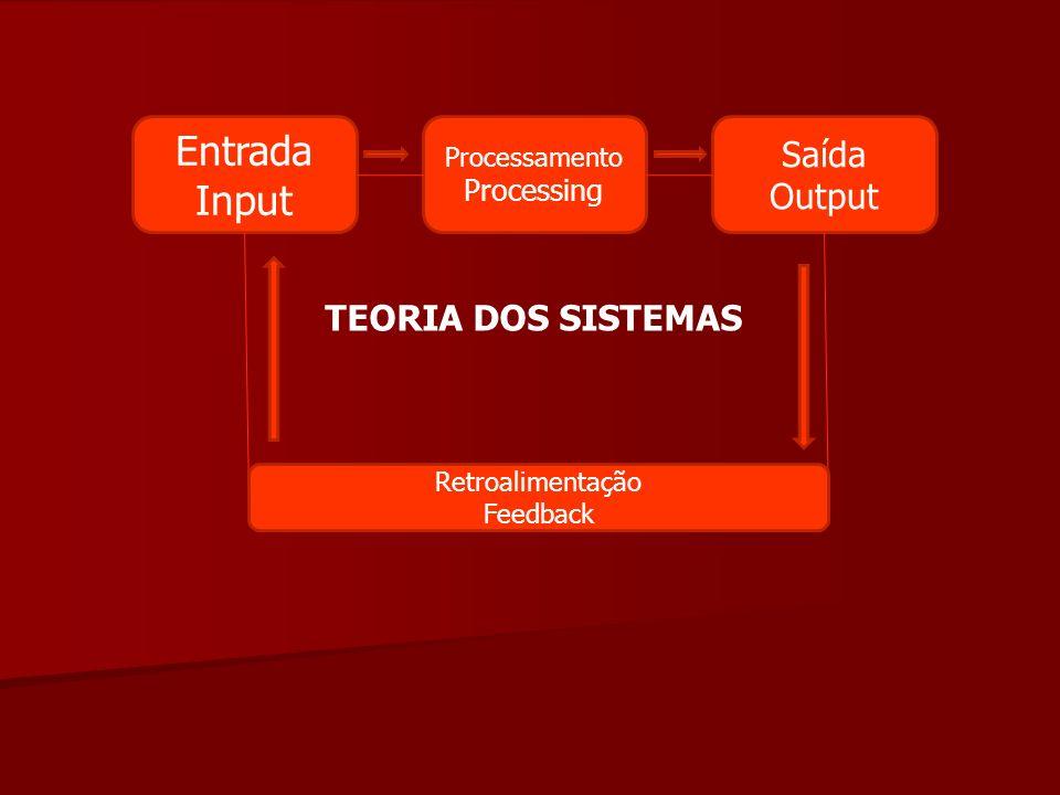Entrada Input Processamento Processing Saída Output Retroalimentação Feedback TEORIA DOS SISTEMAS