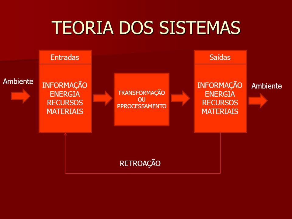 Entradas Ambiente INFORMAÇÃO ENERGIA RECURSOS MATERIAIS TRANSFORMAÇÃO OU PPROCESSAMENTO Saídas INFORMAÇÃO ENERGIA RECURSOS MATERIAIS Ambiente RETROAÇÃ