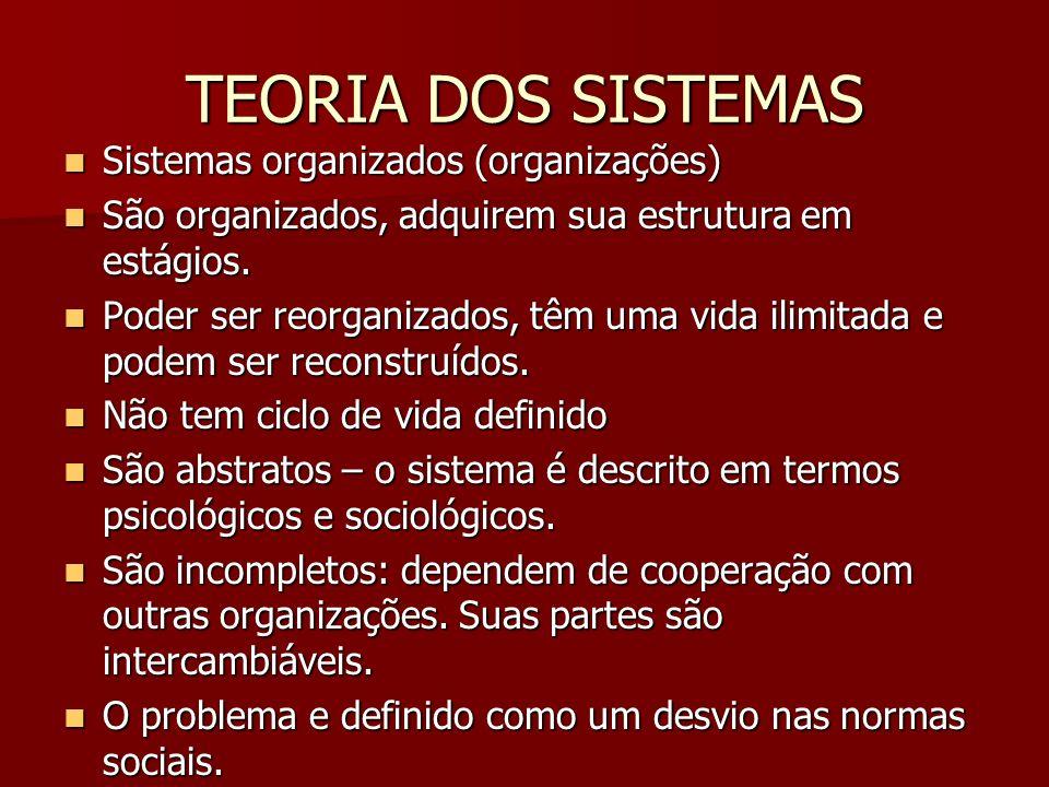 TEORIA DOS SISTEMAS Sistemas organizados (organizações) Sistemas organizados (organizações) São organizados, adquirem sua estrutura em estágios. São o