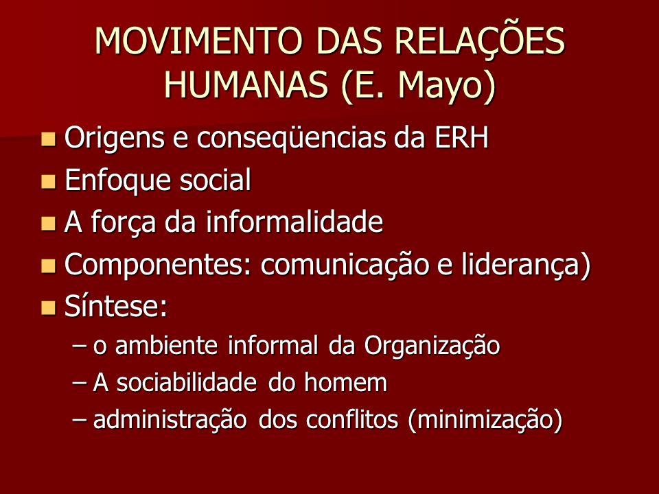 MOVIMENTO DAS RELAÇÕES HUMANAS (E. Mayo) Origens e conseqüencias da ERH Origens e conseqüencias da ERH Enfoque social Enfoque social A força da inform