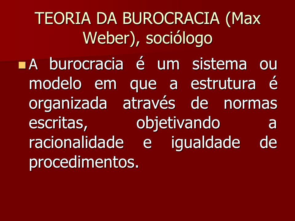TEORIA DA BUROCRACIA (Max Weber), sociólogo A burocracia é um sistema ou modelo em que a estrutura é organizada através de normas escritas, objetivand