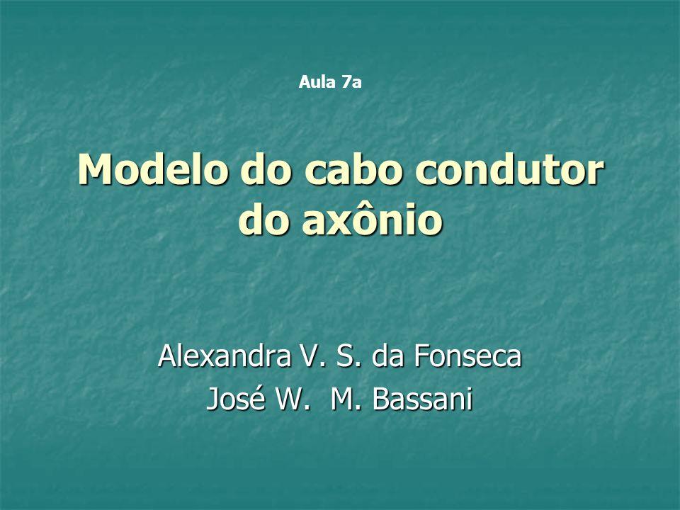 Modelo do cabo condutor do axônio Alexandra V. S. da Fonseca José W. M. Bassani Aula 7a