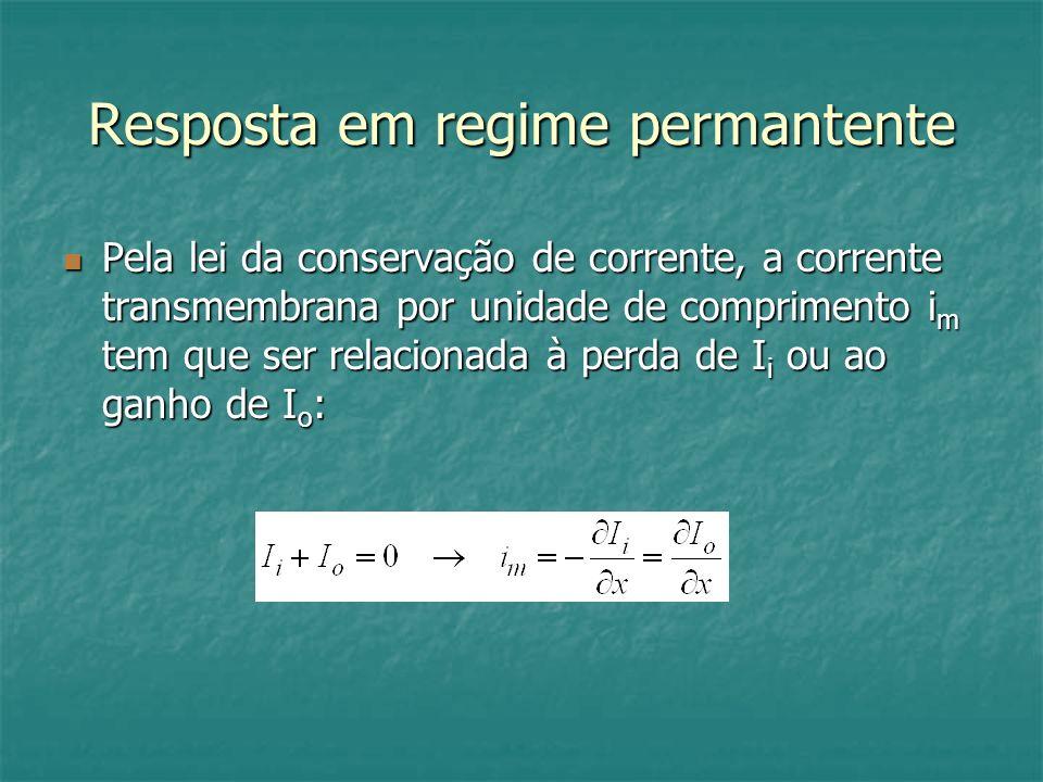 Resposta em regime permantente Pela lei da conservação de corrente, a corrente transmembrana por unidade de comprimento i m tem que ser relacionada à