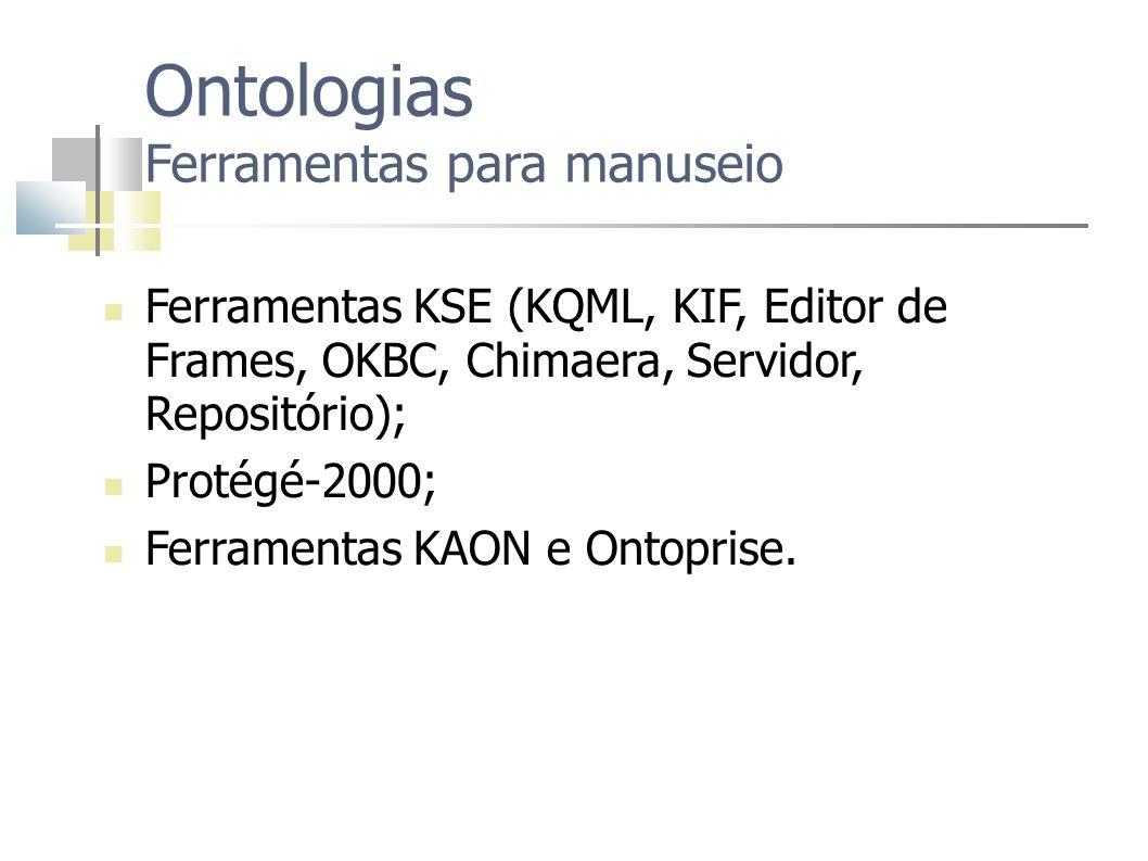 Ontologias Ferramentas para manuseio Ferramentas KSE (KQML, KIF, Editor de Frames, OKBC, Chimaera, Servidor, Repositório); Protégé-2000; Ferramentas K