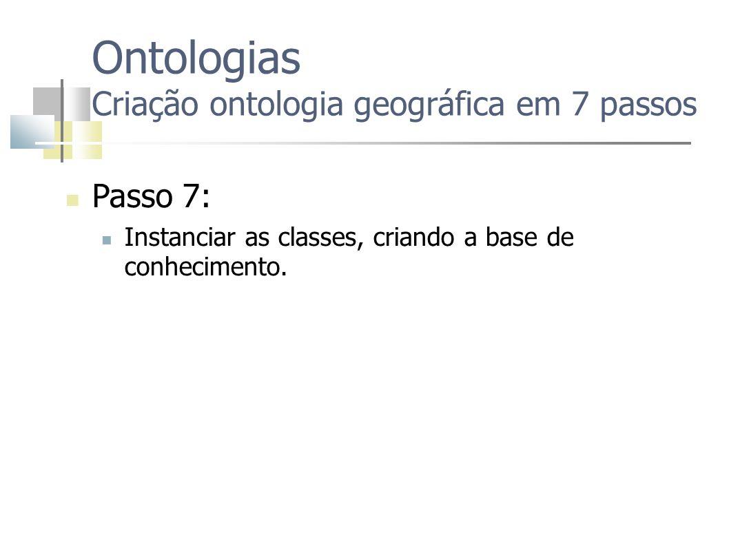 Ontologias Criação ontologia geográfica em 7 passos Passo 7: Instanciar as classes, criando a base de conhecimento.