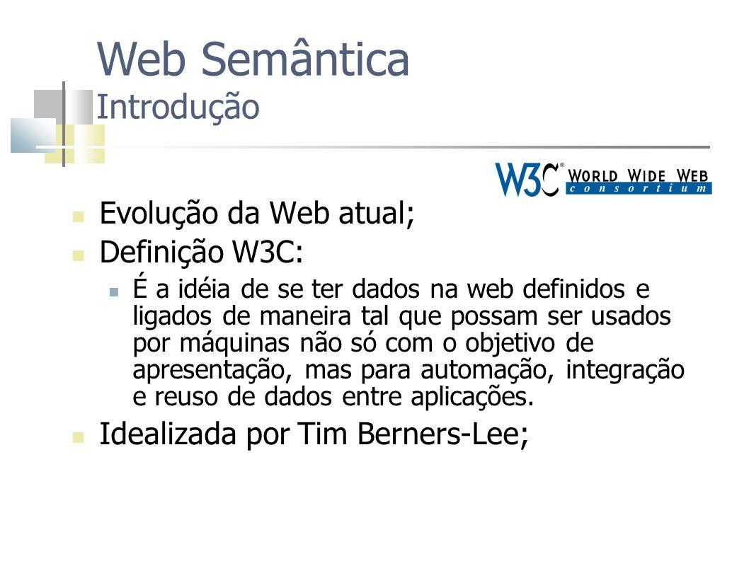Evolução da Web atual; Definição W3C: É a idéia de se ter dados na web definidos e ligados de maneira tal que possam ser usados por máquinas não só co
